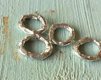 TWO Jump Rings  Artisan Handmade Large Sterling 002/OR150