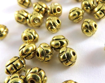 50 Gold Spacer Bead Bicone Saucer Flower Antique Tibetan Style 5x4mm - 50 pc - M7003-AG5x4mm50