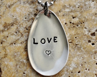 Stamped Spoon Necklace Hand Stamped LOVE Heart Necklace Repurposed Vintage Silver Plate Silverware Jewelry by Hendywood