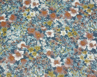 vintage 70s cotton fabric, featuring shabby chic floral print in blues and browns, 1 yard, 3 available, priced per yard