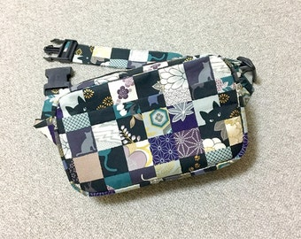 Body Bag / Waist Pouch / Hip Bag / Fanny Pack --- Kimono Cat - Green