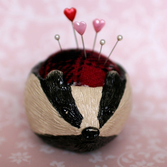 Badger Ceramic Pincushion Pot