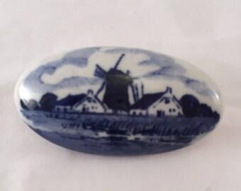 Vintage blue porcelain windmill Dutch Holland oval brooch