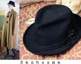 Vintage 50's black wool fedora hat, vintage mens hat, women's hat, felted wool hat, unisex hat, 50s men's hat, 50s wool hat, black wool hat