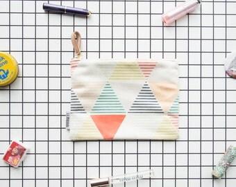 Faux Suede Geometric Pouch / makeup pouch