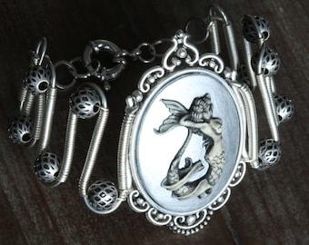 Mermaid bracelet, Silver Mermaid Cameo, Neo Victorian Steampunk style jewelry