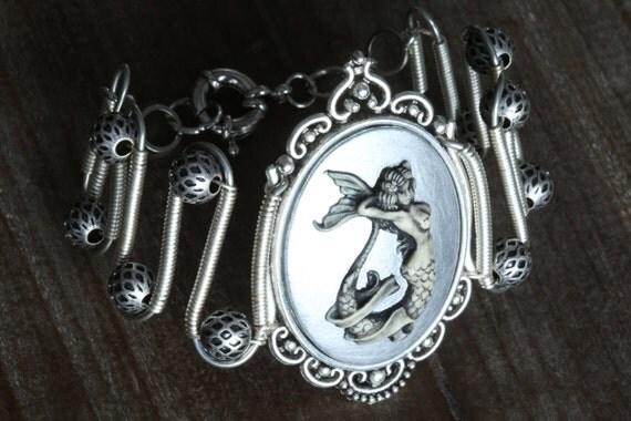 NEW Mermaid bracelet, Silver Mermaid Cameo, Neo Victorian Steampunk style jewelry