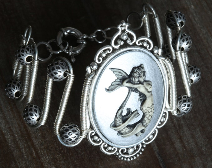 Mermaid bracelet, Silver Mermaid Cameo, Neo Victorian Steampunk style jewelry