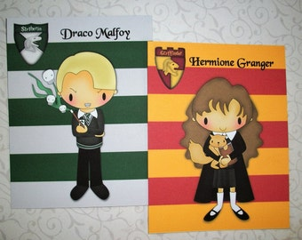 HARRY POTTER - House Crests and stripes - Characters Names  - Notecards - Set of 10  - Whimsical - Colorful - HPN 0908