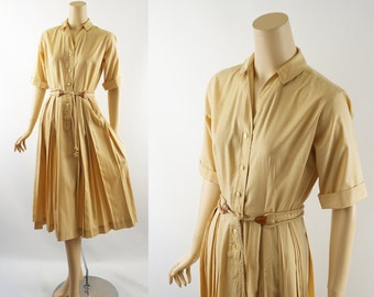 Vintage 1960s Shirtwaist Dress Butter Cream Cotton Full Skirt by Arlure B38 W25