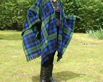 Black Watch Plaid Anti Pill Fleece Wrap, Poncho, Cape or Shawl with Fringe--Lightweight Warmth--One Size Fits Most