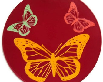 Red Silicone Butterfly Kitchen Hot Pad Table Decor Table Trivet Table Placemat