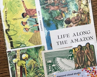 Head Hunters and Cannibals of the Amazon and New Guinea Jungles Vintage Collage, Scrapbook and Planner Kit Number 2403