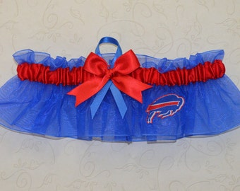 Wedding Keepsake Garter Handmade with Buffalo Bills fabric ( Royal Blue BB )