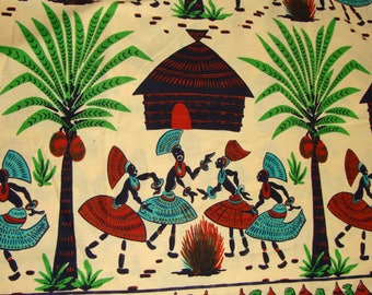 Vintage Tribal Fabric Novelty Print African Figural Cotton Material Yardage 1 Yd