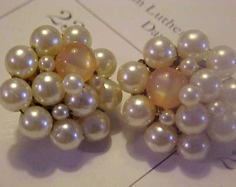 Vintage Japan Faux Pearl Clip On Earrings