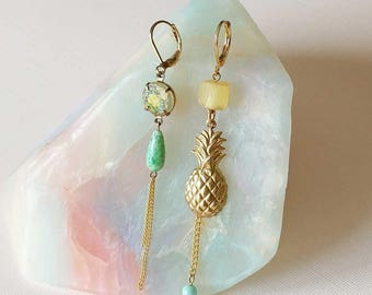 Asymmetric Pineapple Earrings - Asymmetrical Earrings - Mismatched Earrings - Yellow Gold Green Earrings - Aloha Earrings (SD1262)