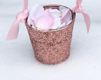 Flower Girl Basket + Rose Gold Glitter Flower Girl Basket with ribbon Handle