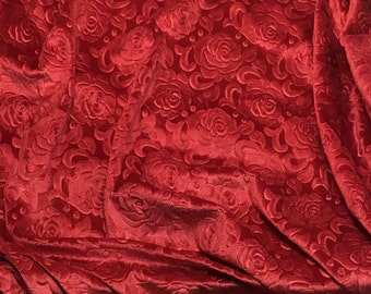 Scarlet Red Roses - EMBOSSED Velvet Fabric  fat 1/4