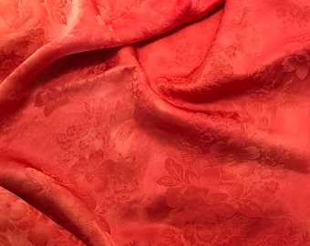 """Hand Dyed BLOOD ORANGE FLORAL - Silk Jacquard Fabric - 9""""x22"""" remnant"""