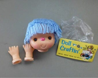 Doll Head and Hands Set Yarn Hair 3 1/2 inches No. 163-79 Doll Craftin