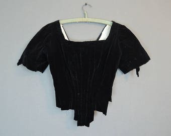 Black Velvet Victorian Bodice, AS IS, Deconstructed, 32 bust, Antique Vintage 1800s