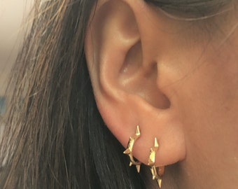 Spike Hoops, Spike Huggies, Spike Earrings, Mini Hoops, Small Hoops, Small Huggie, Minimalist Hoop, Minimalist Earring