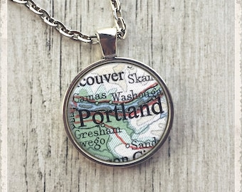 Custom Map Necklace, Map Pendant, Personalized Map Necklace, Photo Pendant Necklace, Map Jewelry or Key Ring Keychain