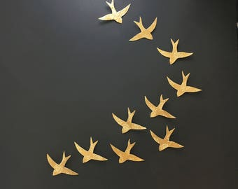 Extra large wall art - Swallows over Morocco Gold birds Wall sculpture Porcelain Ceramic wall art for bathroom Bedroom Living room set of 10