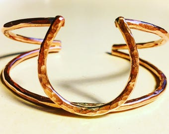 Lucky Horseshoe Double Cuff Bracelet - Copper Hammered and Forged - Jennifer Cervelli Jewelry - The Ranch Collection