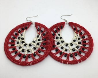 Crochet earrings, Beaded, silver, bohemian jewelry, crochet hoops, beaded earrings, crochet jewelry, hoop earrings, boho chic, gold