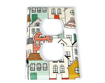 Single Outlet Switch Plate Light Switch Cover in Neighborhood (266O)