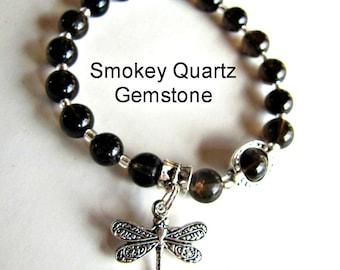 Smoky Quartz Stretch Bracelet, Gemstone Bracelet, Brown,  Fits 7- 7 1/4 Inch, Beaded Bracelet, Body Jewelry, Accessories 1197