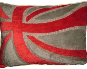 Union Jack Cut Velvet Red & Silver Oblong Tapestry Cushion Cover