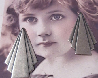 Sterling Silver Ox Plated Brass Art Deco Triangle Stamping Drops  580SOX  x2