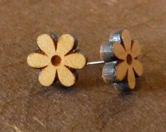 Simple Flower Wooden Earrings