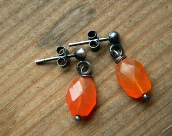 SILVER and carnelian  stud earrings
