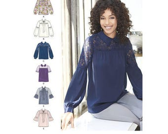 Simplicity 8215 Tie Collar Blouse Pattern, Gathered Yoke Blouse Pattern ~ Top Pattern ~ Poet's Shirt Pattern ~ Size 4-12
