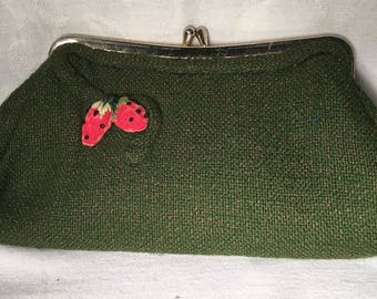 Vintage 50's green clutch purse with strawberries