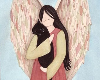 Black cat cradled by angel / Lynch signed folk art print