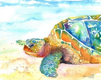 Turtle Fine Art Print 8x10 - Kauai Art - Hawaiian Honu Painting - Childrens Wall Art - Ocean Sea Decor - Sea Turtle Prints - Beach Art