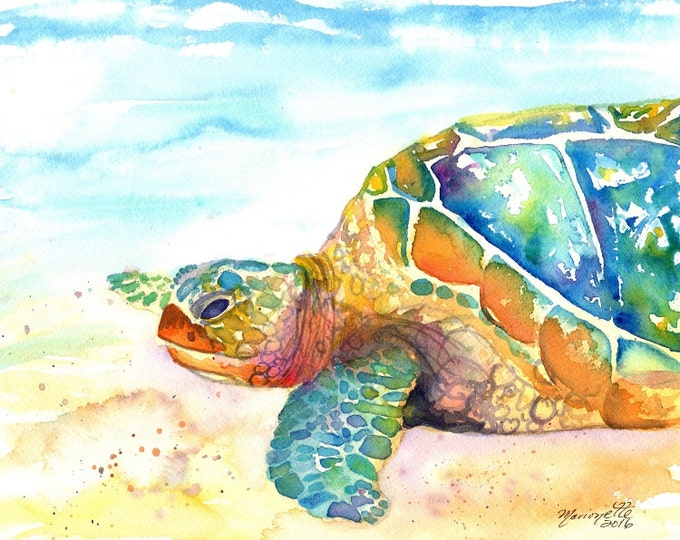 Turtle Fine Art Print 8x10 - Kauai Art - Hawaiian Honu Painting - Childrens Wall Art - Ocean Sea Decor - Sea Turtle Prints - Beach Art