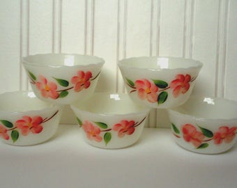 Vintage Fire King Peach Blossom Set of 5 Collectible Custard Cups