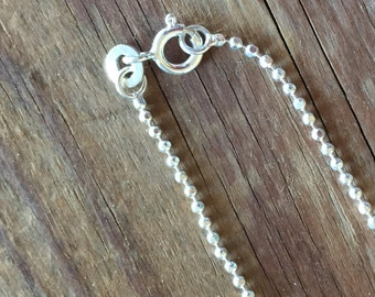"Sterling Silver .925 Diamond Cut 20"" Ball Chain,  Sterling Silver Necklace, Bead Supply, Ready to Ship, Gift for her"