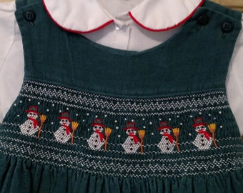 Vintage Handmade Smocked Snowman Corduroy Jumper and Blouse Size 6