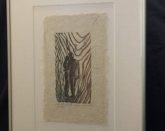 FRAMED Couple Together Hopeful Look to Future In Love Original Woodcut Handmade Paper LE