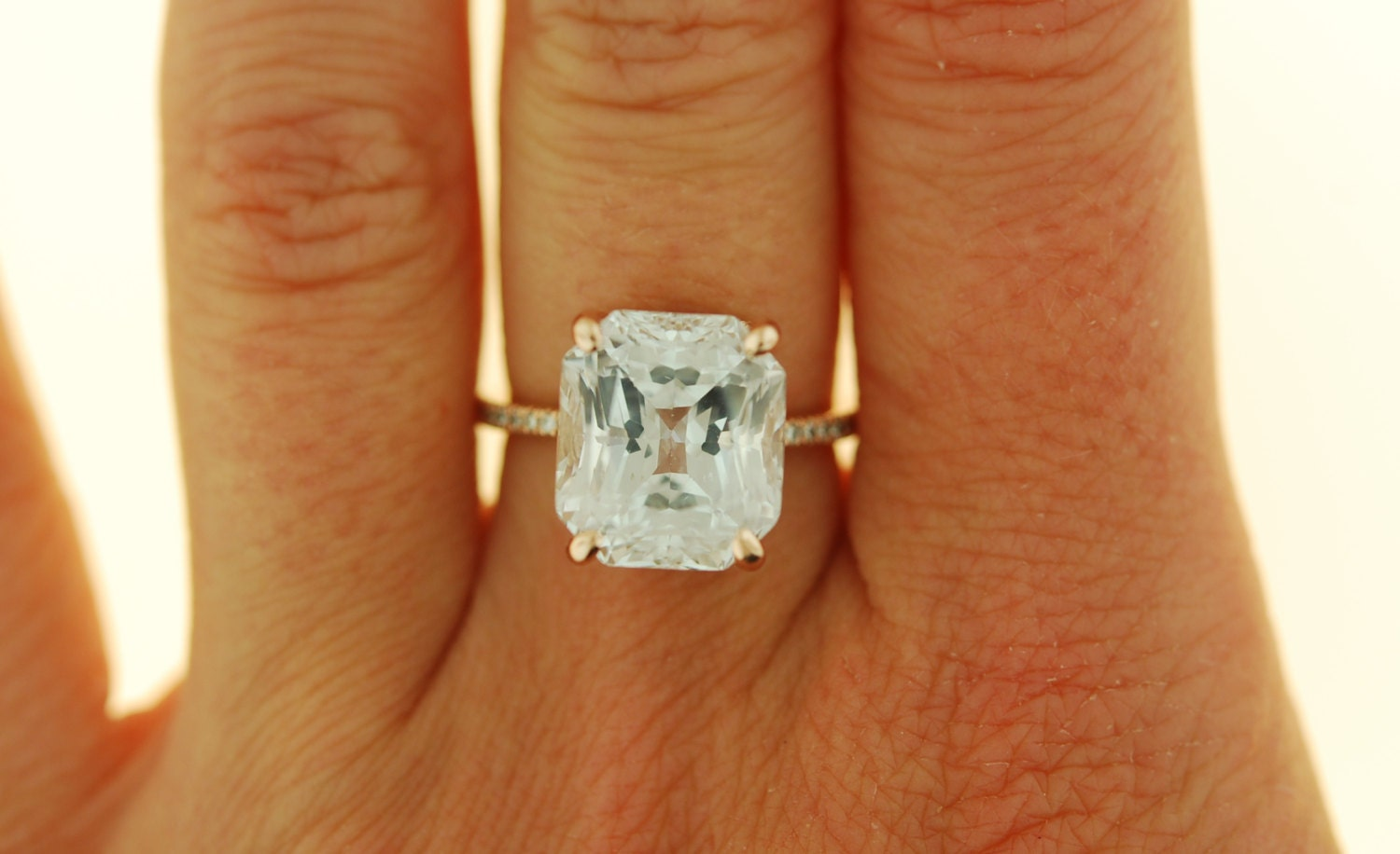 Engagement ring Rose gold engagement ring 10ct GIA certified White sapphire e