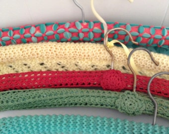 Pretty Vintage Retro set of Crochetted and Knitted Hangers Green and Red