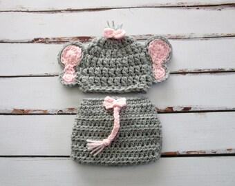 Baby Girl Elephant Set, Baby Elephant Costume, Baby Elephant Hat, Baby Girl Hat, Baby Diaper Cover Set, Newborn Elephant Hat, Baby Hat