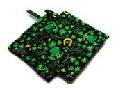 Quilted Pot Holders set of 2 Green Black  Shamrock Horseshoe Top Hat Irish St. Patrick's Day